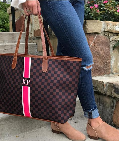 St. Anne Tote Fall Patterns with Monogrammed Stripes  Apparel & Accessories > Handbags > Tote Handbags