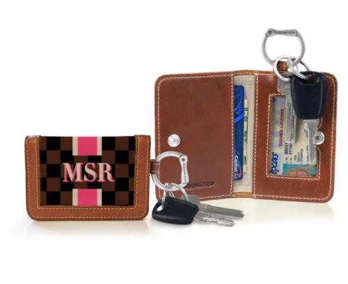 Barrington Kent Monogrammed Keyring Wallet with Racing Stripes  Apparel & Accessories > Handbag & Wallet Accessories