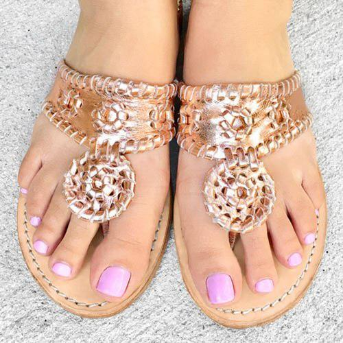 Palm Beach Rose Gold Classic Ladies Sandals  Apparel & Accessories > Shoes > Sandals > Thongs & Flip-Flops