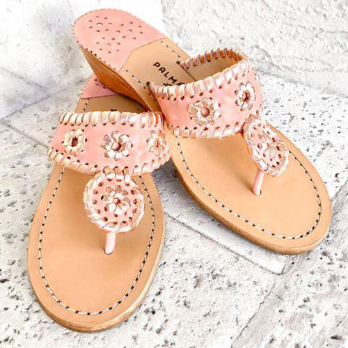 Palm Beach Blush and Rose Gold Mid Wedge Sandals  Apparel & Accessories > Shoes > Sandals > Thongs & Flip-Flops