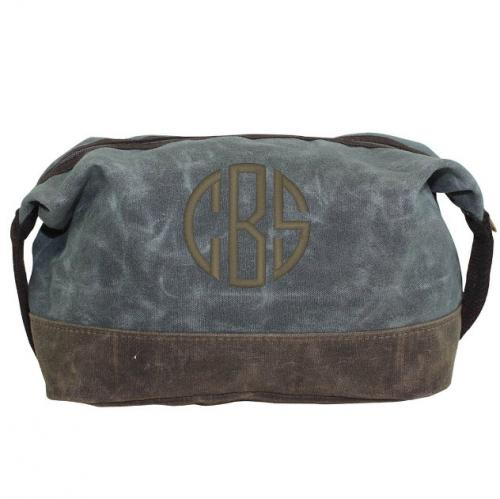 Personalized Waxed Dopp Kit in Slate   Luggage & Bags > Toiletry Bags
