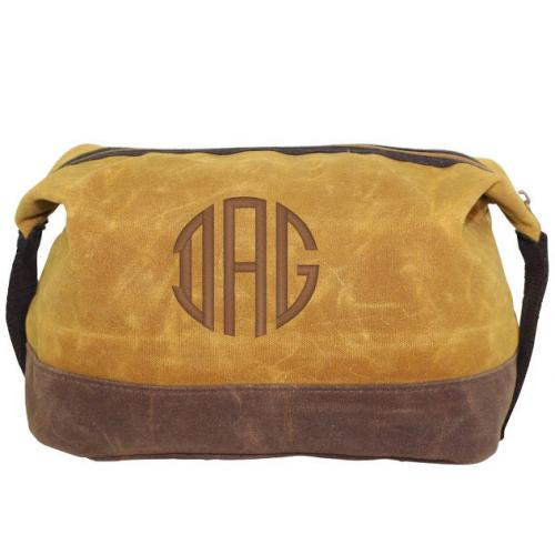 Personalized Waxed Dopp Kit in Yellow   Luggage & Bags > Toiletry Bags