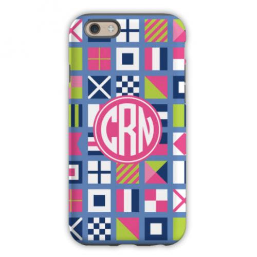 Personalized iPhone Case Nautical Flags Pinks  Electronics > Communications > Telephony > Mobile Phone Accessories > Mobile Phone Cases