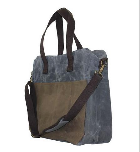 Personalized Waxed Canvas Multi-Pocket Tote Slate   Apparel & Accessories > Handbags > Tote Handbags
