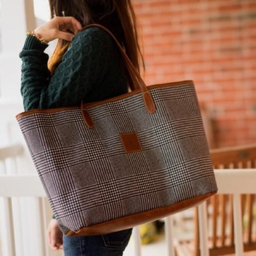 Barrington Savannah Zippered Tote Fall Leather Patch  Apparel & Accessories > Handbags > Tote Handbags