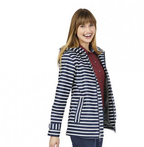 Navy and White Striped Charles River Rain Jacket Monogrammed  Apparel & Accessories > Clothing > Outerwear > Rain Gear > Raincoats