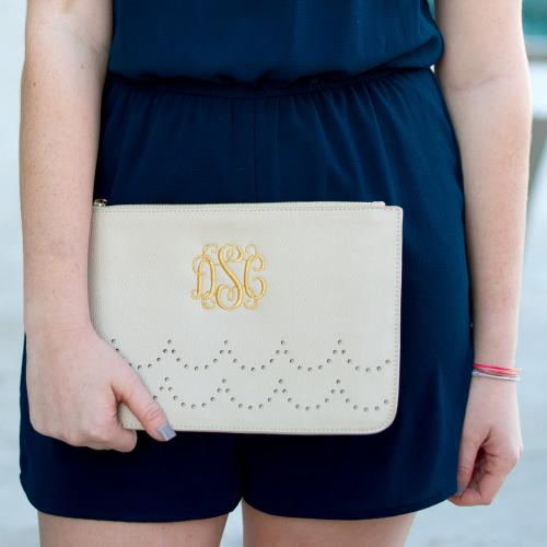 Monogrammed Creme Vegan Leather Scalloped Clutch  Apparel & Accessories > Handbags > Clutches & Special Occasion Bags