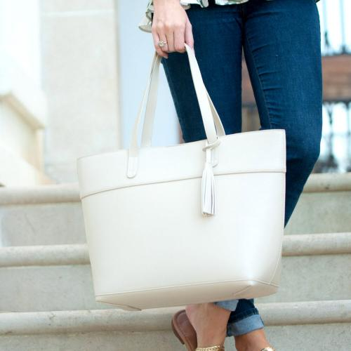 Monogrammed Creme Vegan Leather Aubrey Tassel Tote  Apparel & Accessories > Handbags > Tote Handbags