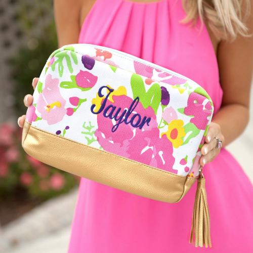 Monogrammed Floral Cabana Cosmetic Bag  Luggage & Bags > Toiletry Bags