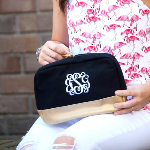 Monogrammed Black Cabana Cosmetic Bag  Luggage & Bags > Toiletry Bags