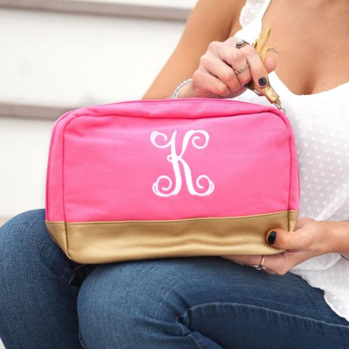 Monogrammed Hot Pink Cabana Cosmetic Bag  Luggage & Bags > Toiletry Bags