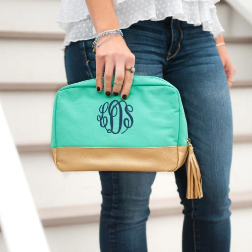 Monogrammed Mint Green Cabana Cosmetic Bag  Luggage & Bags > Toiletry Bags