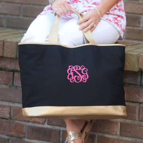 Personalized Black Canvas Cabana Tote  Apparel & Accessories > Handbags > Tote Handbags