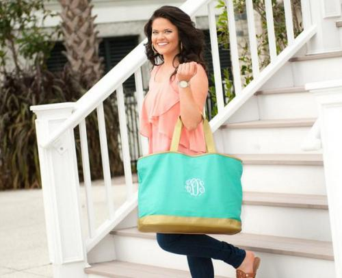 Personalized Mint Green Canvas Cabana Tote  Apparel & Accessories > Handbags > Tote Handbags