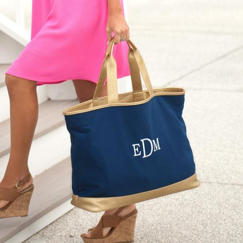 Personalized Navy Blue Canvas Cabana Tote  Apparel & Accessories > Handbags > Tote Handbags