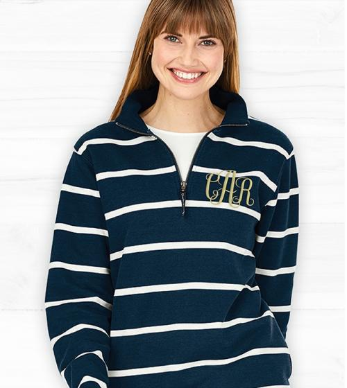 Monogrammed Striped Crosswinds Pullover Navy or Gray  Apparel & Accessories > Clothing > Activewear > Sweatshirts