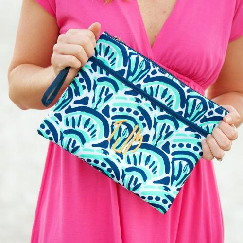 Personalized Make Waves Zip Travel Pouch Wristlet  Luggage & Bags > Luggage Accessories > Travel Pouches