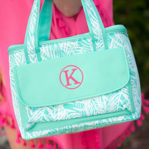 Monogrammed Poolside Palm Cooler Bag  Home & Garden > Kitchen & Dining > Food & Beverage Carriers > Coolers