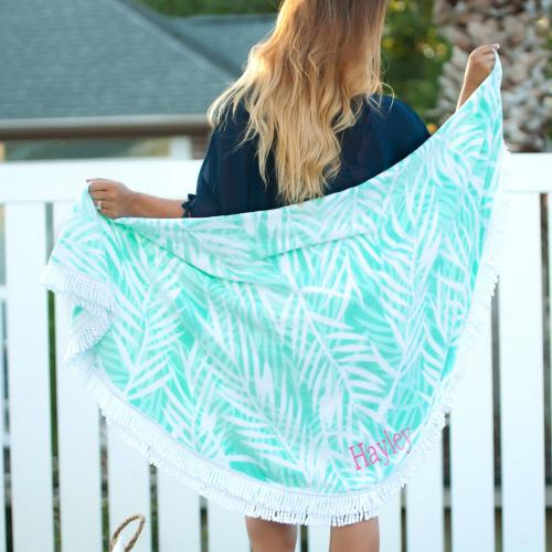 Monogrammed Poolside Palm Round Beach Towel  Home & Garden > Linens & Bedding > Towels > Beach Towels