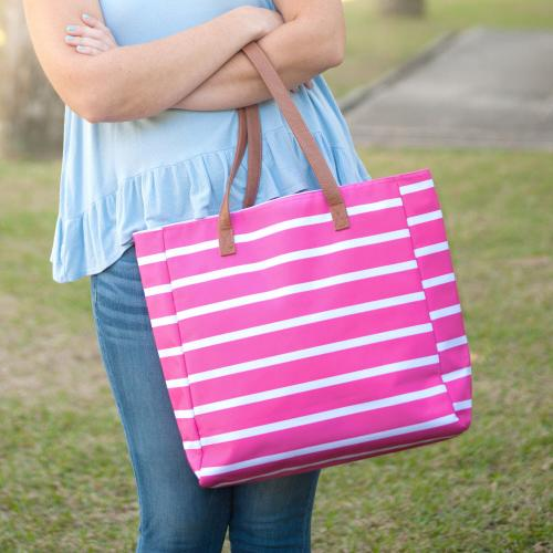 Personalized Hot Pink Stripe Tote  Apparel & Accessories > Handbags > Tote Handbags