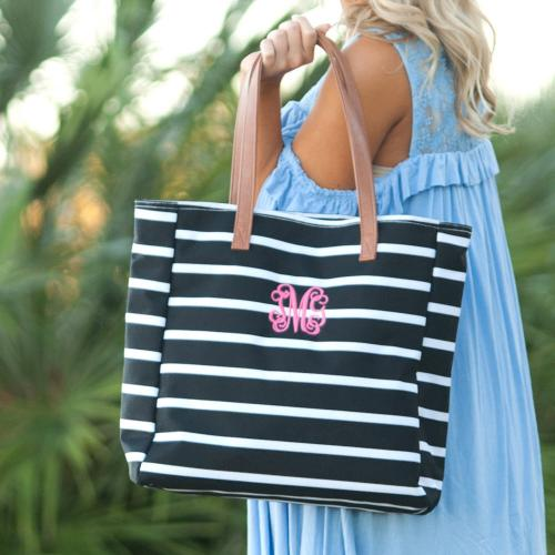 Personalized Black Stripe Tote  Apparel & Accessories > Handbags > Tote Handbags