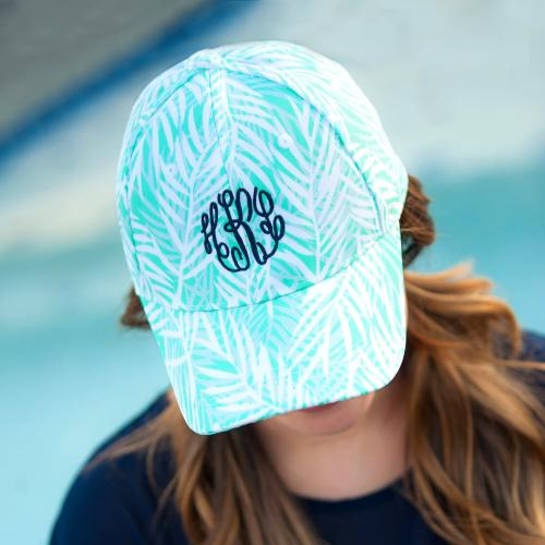 Monogrammed Poolside Palm Ladies Cap  Apparel & Accessories > Clothing Accessories > Hats > Caps