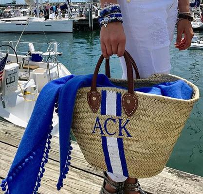 Monogrammed Hand Painted Stripe Straw Tote Bag  Apparel & Accessories > Handbags > Tote Handbags