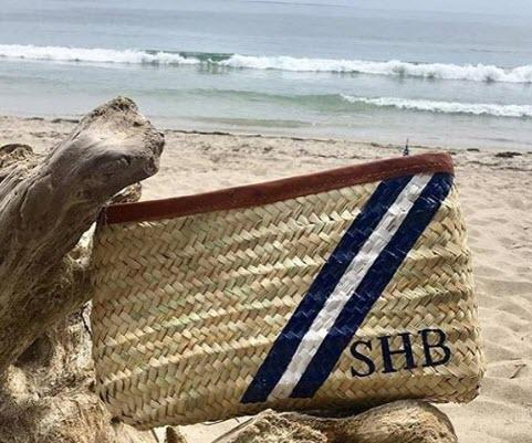 Monogrammed Hand Painted Stripe Straw Clutch Purse  Apparel & Accessories > Handbags > Clutches & Special Occasion Bags