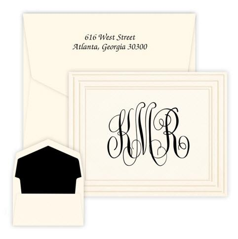 Classic Frame Monogram Note Raised Ink  Office Supplies > General Supplies > Paper Products > Stationery