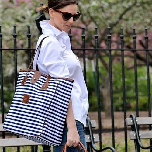 Monogrammed Nantucket Tote Spring Leather Patch  Apparel & Accessories > Handbags > Tote Handbags