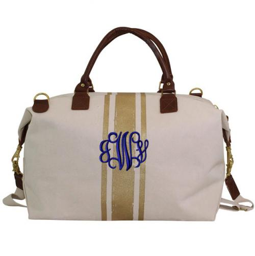 Monogrammed Gold Stripes Weekender  Luggage & Bags > Suitcases > Carry-On Luggage