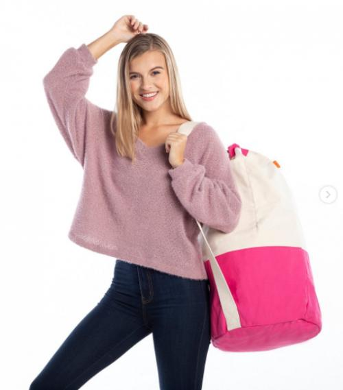 Personalized Laundry Duffel in Hot Pink  Home & Garden > Household Supplies > Laundry Supplies > Laundry Baskets