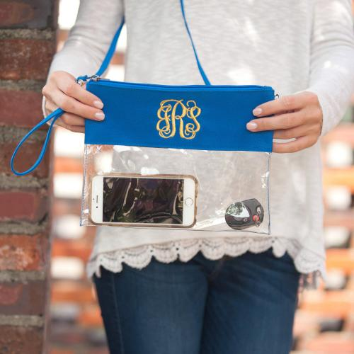 Personalized Royal Blue Clear Convertible Crossbody Purse  Apparel & Accessories > Handbags > Cross-Body Handbags