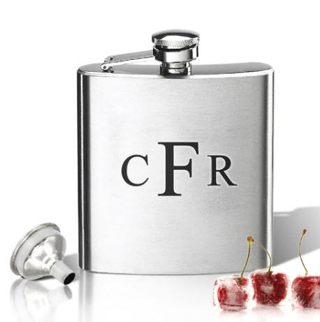Monogrammed Stainless Steel Hip Flask  Home & Garden > Kitchen & Dining > Food & Beverage Carriers > Flasks