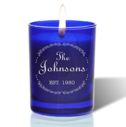 Personalized Cobalt Candle  Home & Garden > Decor > Candles